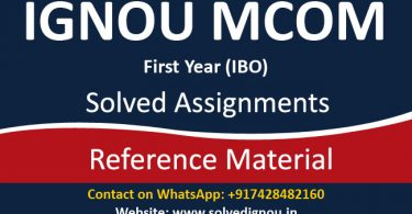 ignou ibo solved assignments (M.Com 1st Year)
