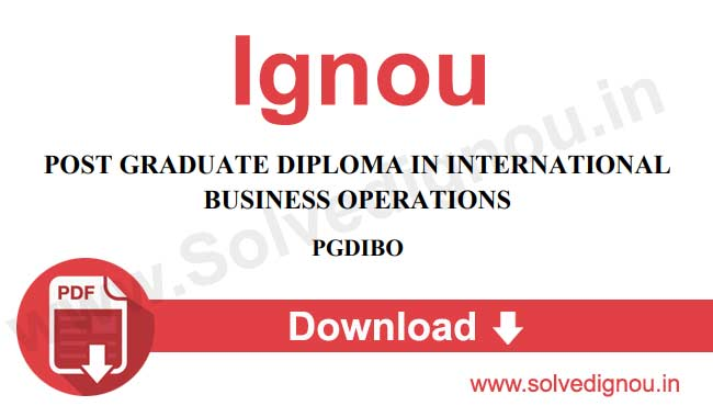 Ignou PGDIBO Assignments